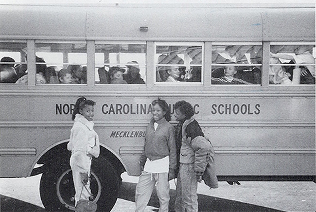 Charlotte-Mecklenburg Schools students in 1973, after the Swann vs. Charlotte Mecklenburg Board of Education ruling forced the district to implement busing.
