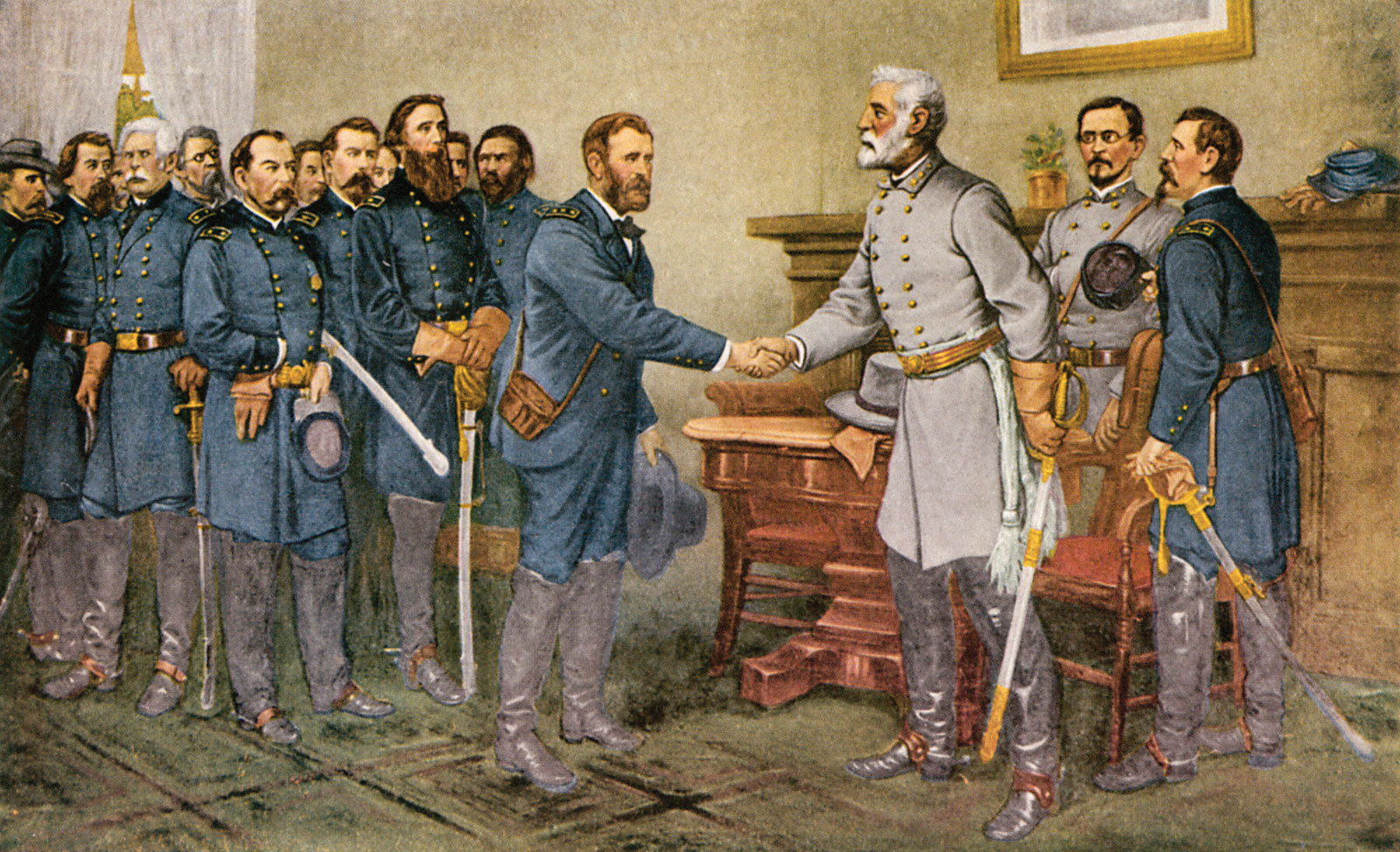 General Robert E. Lee surrenders at the Appomattox Court House in Virginia