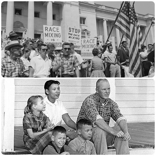 Richard and Mildred Loving with their family (bottom); Protesters against interracial marriage (top)