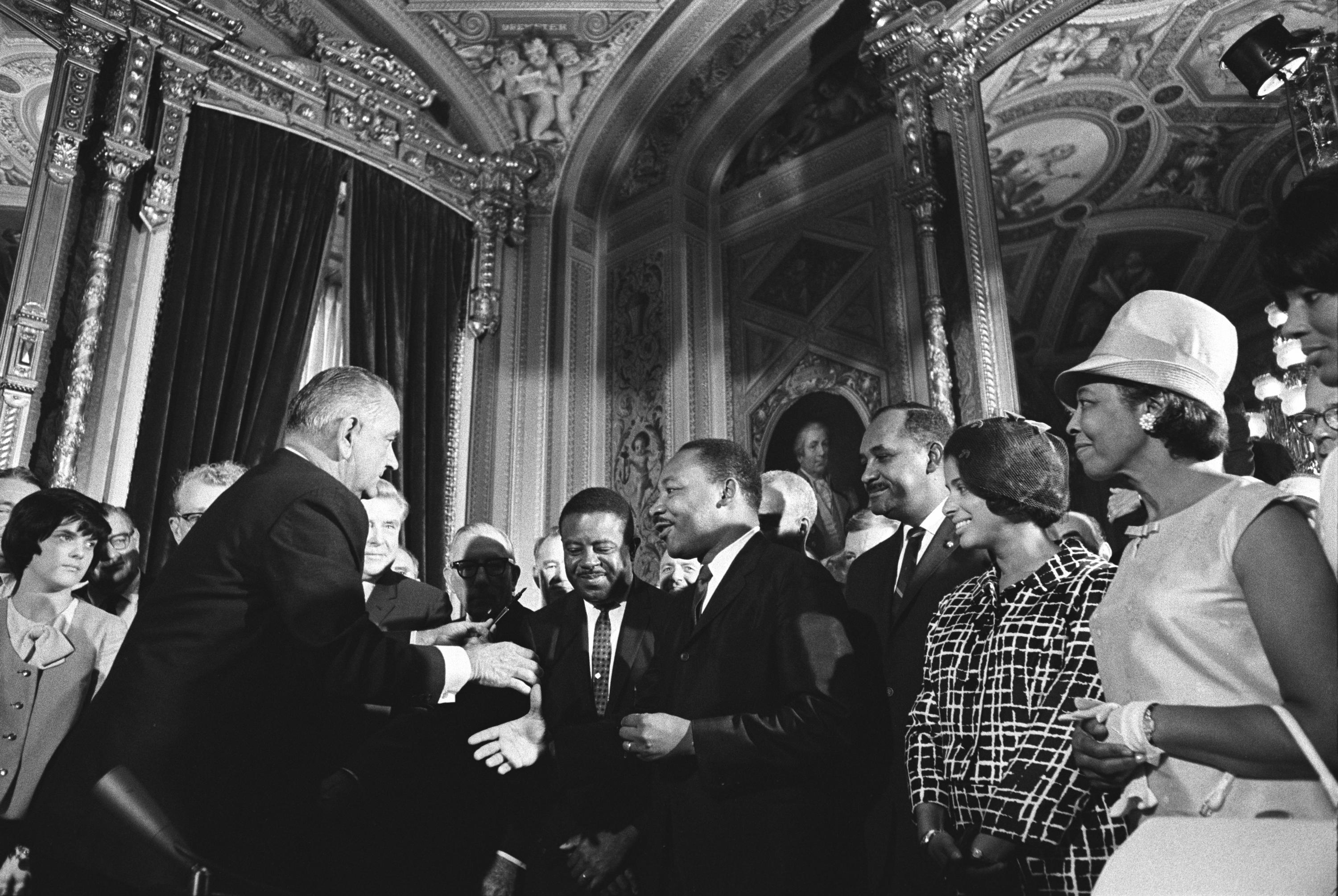 Lyndon Johnson and Martin Luther King, Jr at the signing of the Voting Rights Act of 1965