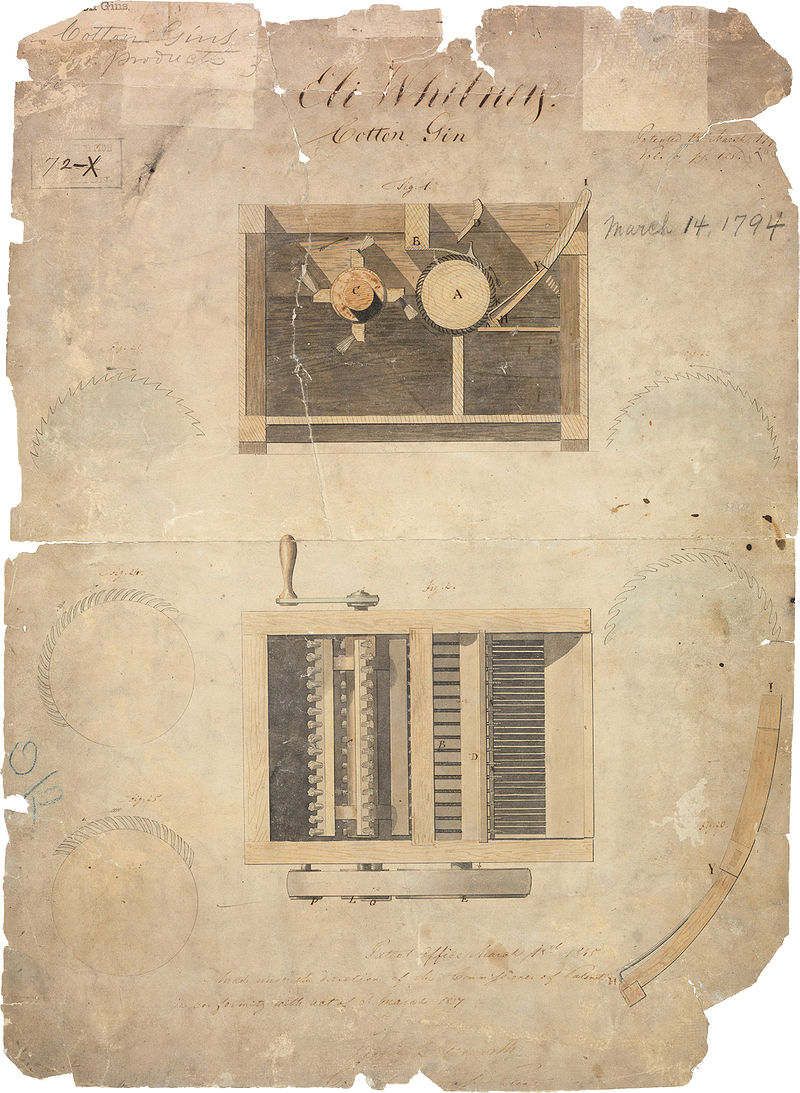 Original patent for Eli Whitney's cotton gin