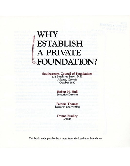 Title page from Why Establish a Private Foundation