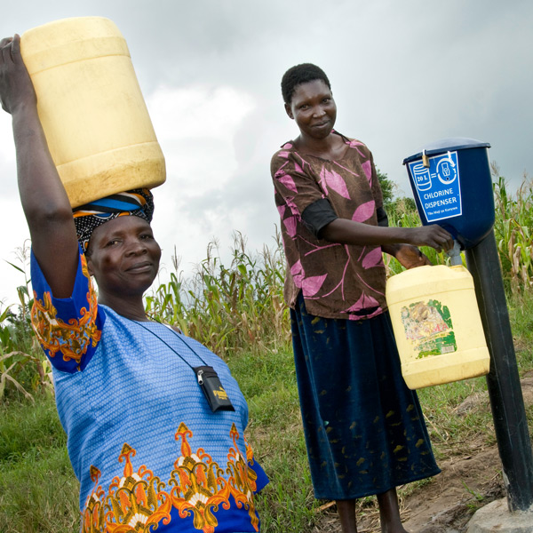 Chlorine dispensers used by communities in Kenya. Credit: Dispensers for Safe Water