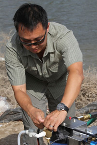 Jim Chu in the field responding to floods in Pakistan. Credit: Monis Rahman