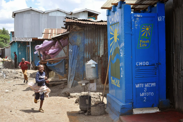Fresh life toilets become part of the landscape in the informal settlements in which Sanergy works. Credit: Sanergy