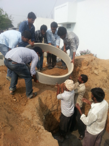 A bio-tank, which is placed beneath the toilet structure and holds the bio-digester bacteria, is installed in Hyderabad. Credit: Banka BioLoo