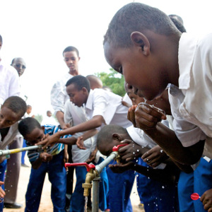 Students in Mogadishu enjoy clean drinking water at their school as a result of an Arc Solutions project. Credit: Arc Solutions