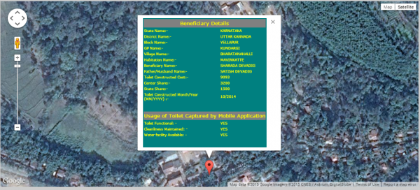 Geo-referenced toilet monitoring data. Ministry of Drinking Water & Sanitation