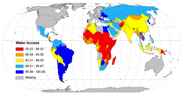 Figure 1. Global water coverage by country (percentage)