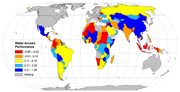 Figure 2. Country performance in improving water access