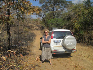 The author on the road in Chadiza District. Photo Credit: Sarah Fry of WASHplus, FHI 360