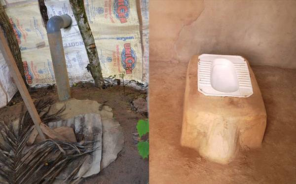 Left: Felicity's latrine. Right: an example of a modern, aesthetically pleasing toilet to which Felicity and others in Nigeria aspire. Photo Credit: WaterAid/Jeff Chapin