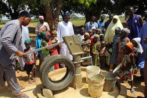 © UNICEF Nigeria/2015 One of the water points installed by Zainabu's WASH Department, with support from UNICEF. Since beginning the community-led total sanitation in 2009, almost 90 per cent of Bakori's communities became Open Defecation Free. More residents now practise handwashing and have access to safe water.