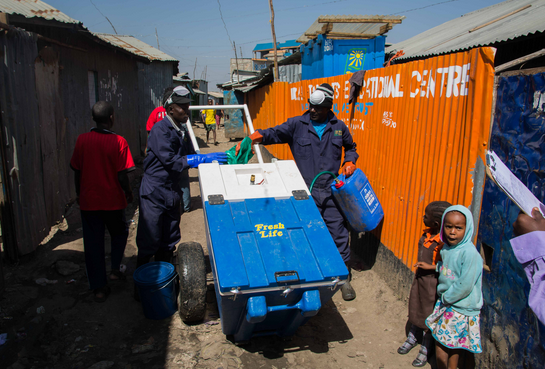 GOAL and Sanergy are testing a mobile waste transfer station approach in urban camp settings