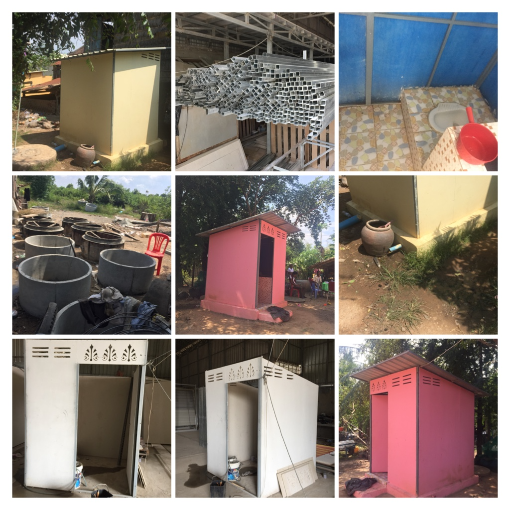 Six photos of latrine construction sites, including five showing fully contructed latrines